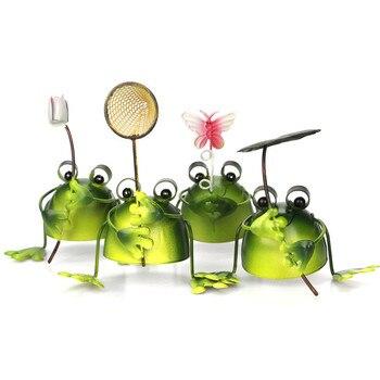4 יח\סט Creative מתכת צפרדעים בונסאי דקורטיבי חמוד מיני טבעי צפרדע צעצוע שולחן בית משרד גן תפאורה קישוט מתנה