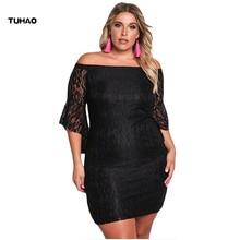 Tuhao 2017 Осень Большие размеры 3XL пикантные элегантные женские платье оборками Черный кружевные нарядные платья Bodycon Клуб женская одежда dl44