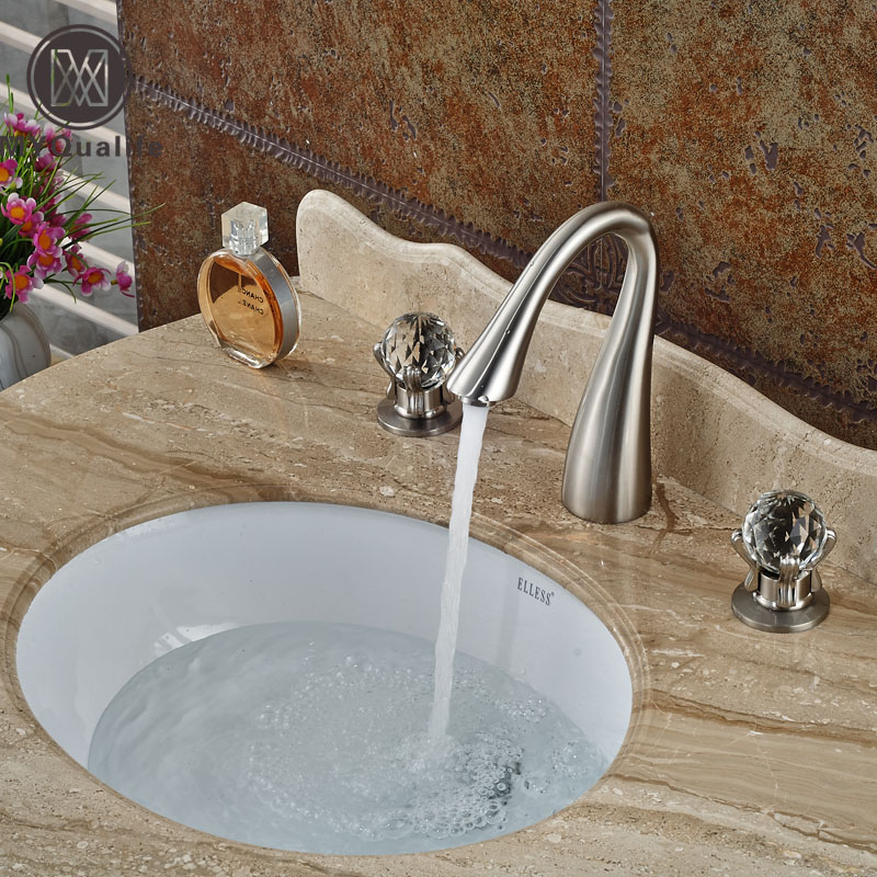 Brushed Nickel Dual Cristal Handles Basin Sink Faucet Deck Mount 3 Holes Bathroom Mixer Taps brushed nickel dual crystal handles basin sink faucet deck mount 3 holes bathroom mixer taps