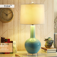 TUDA 2017 Free Shipping Mediterranean Sea Style Table Lamp For Bedroom Transparent Artificial Jade Ceramic Table