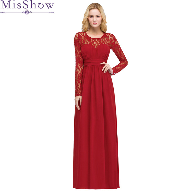 96a23b1a97 In stock Fast shipping Elegant Red Evening Dress Simple Chiffon Floor-length  Long Sleeve Prom Dress Party dresses Formal Gown