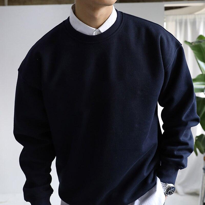 Модные с круглым вырезом Для мужчин wo Для мужчин с длинными рукавами Повседневная рубашка Топы 2018 Для мужчин Sweatershirts одноцветное Цвет прост...