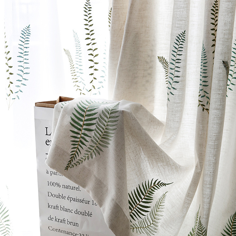 Embroidered Green Leaves Curtains For Living Room Bedroom Tulle For Windows Kitchen American Style Fabric Curtains Children Room