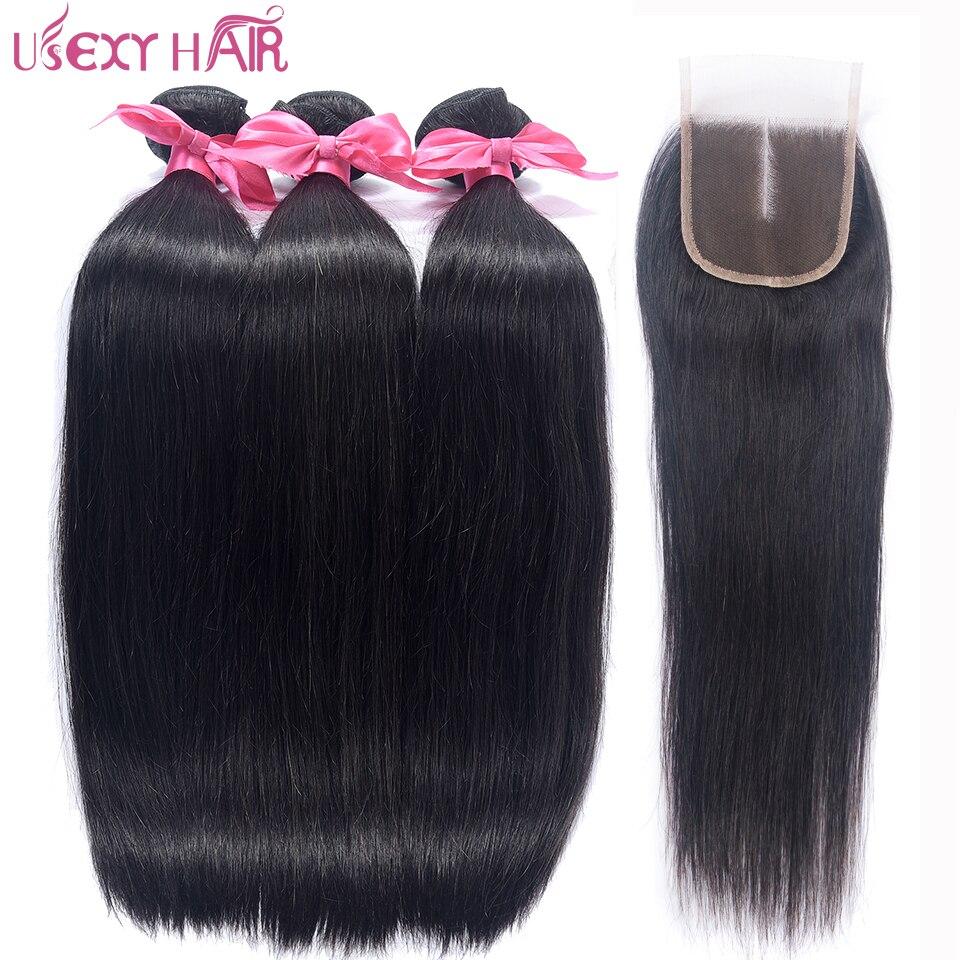 Usexy индийские волосы прямые волосы Синтетическое закрытие шнурка волос Бесплатная/средняя часть с 3 Связки Человеческие волосы ткань натур...
