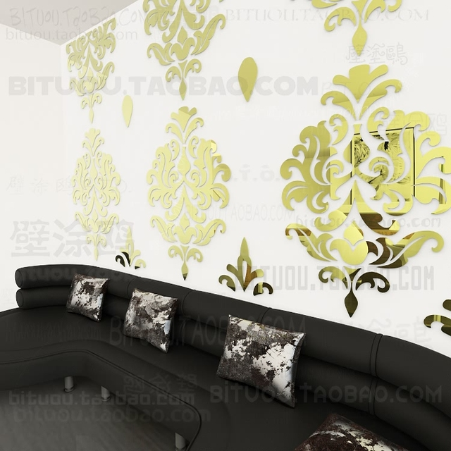 Sofa Wall Stickers Home Decor Europe Vintage Baroque Rococo 3D Vinyl  Decoration Mirror Wall Paper Decal