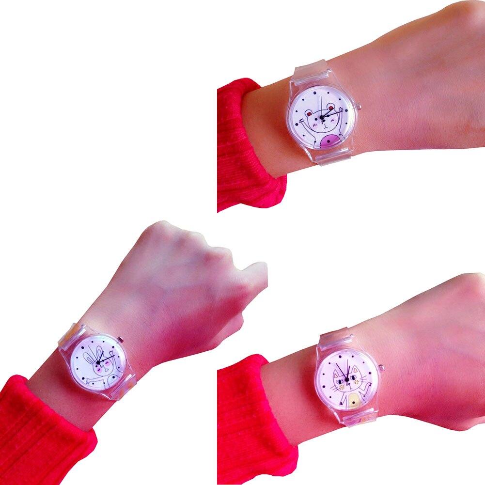 Children Watches Silicone Strap Cartoon Animal Clock Dial Analog Quartz Watch Kids Girl Casual Wristwatch Gifts LL@17 xinkai 0015 children s casual silicone band quartz analog wristwatch black red 1 x 377