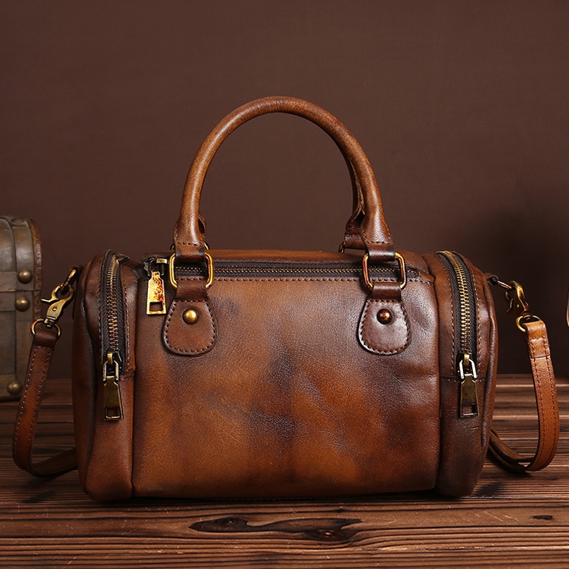 2018 Retro Lady Bags Cowhide Genuine Leather Women Bag Fashion Oblique Cross Package High Capacity Business Messenger Handbags qiaobao women general genuine leather handbags tide europe fashion first layer of cowhide women bag hand diagonal cross package