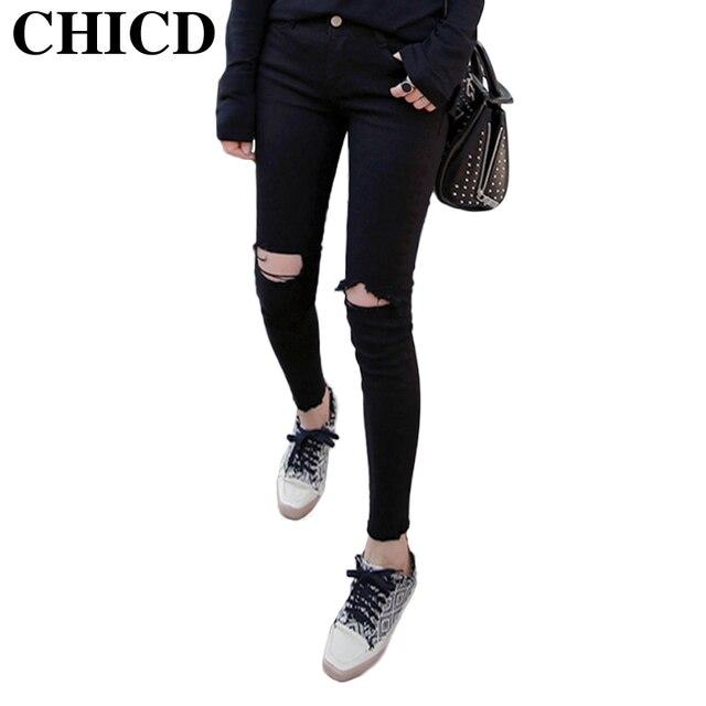 CHICD Mode Casual Femmes Mi Taille Denim Jeans Slim Jeans Déchirés Trou Bavures Noir Pantalon Femelle Sexy Filles Pantalon XP425