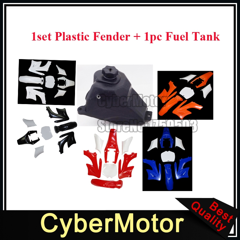 Plastic Fender Fairing Kits + Petrol Gas Fuel Tank For Chinese 2 Stroke 47 49cc Apollo KXD Orion Mini Dirt Bike Motorcycle
