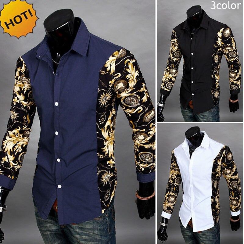 NEW2017 Spring Autumn Dress Shirts Turn-down Patchwork Printing Fake Two Piece Men's Long Sleeve Shirt Color Matching Men Shirts