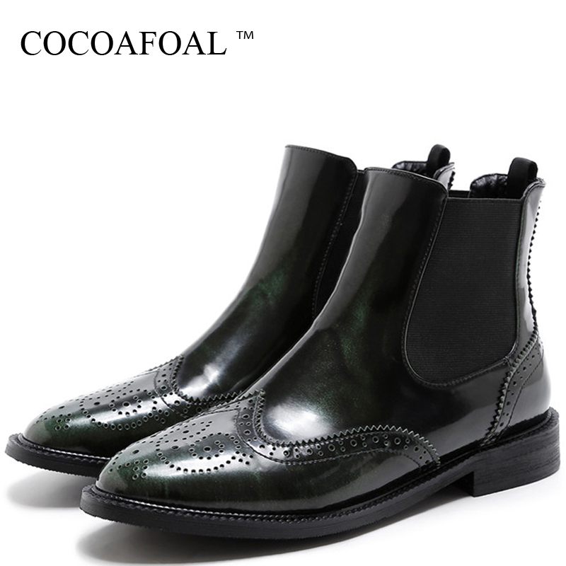 купить COCOAFOAL Genuine Leather Woman Martin Boots Black Green Autumn Winter Shoes Women's Ankle Boots Genuine Leather Chelsea Boots недорого
