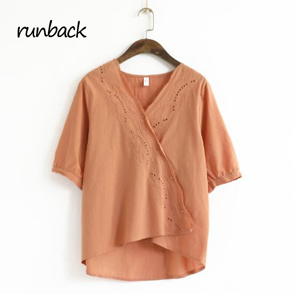 runback 2017 Summer Women New <font><b>Small</b></font> Fresh V Collar Embroidery Color Slant Buckle <font><b>White</b></font> Orange Blouses Haut Femme <font><b>Chemise</b></font> Femme