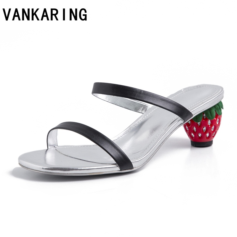 red beach sandals women slippers sandals sexy leather slippers crystal strawberry high heel casual ladies outdoor female slidesred beach sandals women slippers sandals sexy leather slippers crystal strawberry high heel casual ladies outdoor female slides
