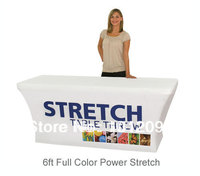 Free Shipping Stretch Fabric Table Cover Fits 6ft Table Printed Full Color Dye Sub Tablecloth
