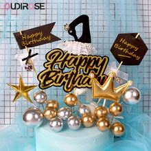 Creative Black Gold Happy Birthday Cake Topper Black Swan Wish Ball Cake Topper Girl/Boy Toy Baking Topper Wedding Party Supplie(China)