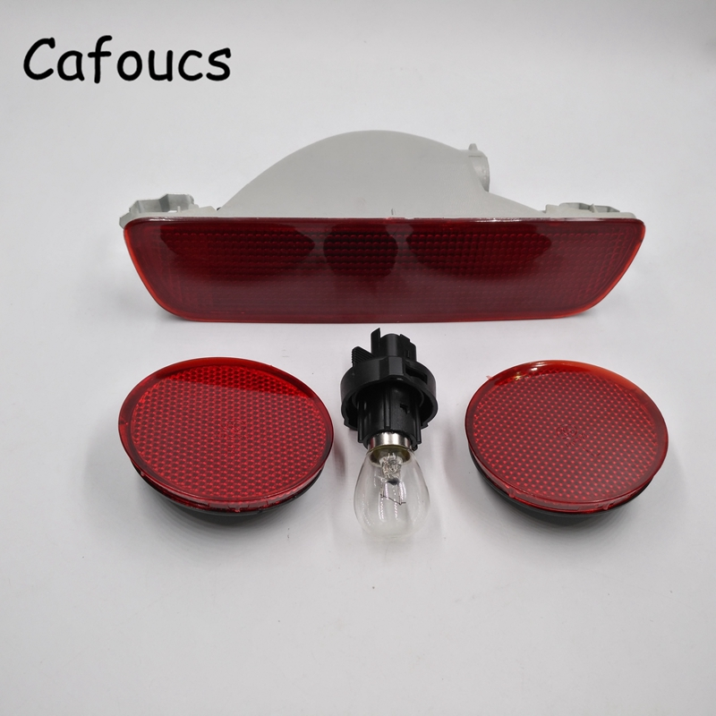 Cafoucs 3Pcs/set Car Rear Fog Light Bumper Reflector Warning Lamp For Nissan Qashqai 2007 2008 2009 2010 2011 2012 2013 front fog lights for nissan qashqai 2007 2008 2009 2010 2011 2012 2013 auto bumper lamp h11 halogen car styling light bulb