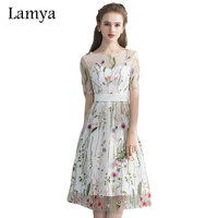 Lamya Knee Length Homecoming Dresses 2017 Cheap A Line Embroidery Grade Graduation For Prom Party Girls