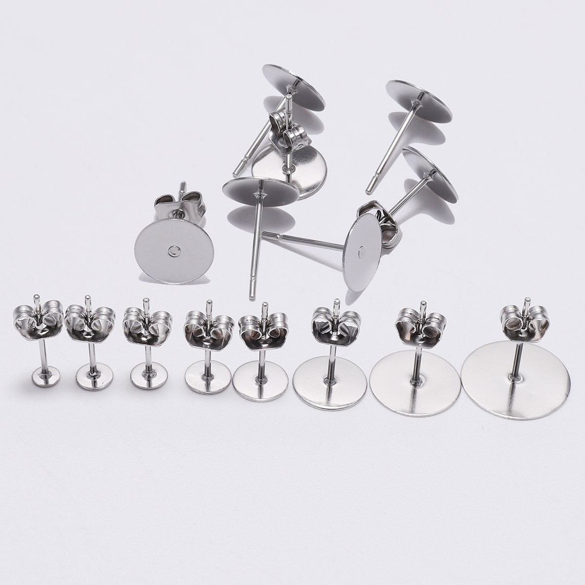 100pcs/lot 3 4 5 6 8 10 12mm Stainless Steel Blank Post Earring Stud Base Pins With Earring Plug Supplies For DIY Jewelry Making