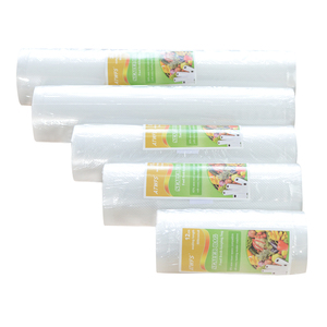 Image 3 - Bolsas de plástico al vacío para el hogar, sellador al vacío para alimentos, 12 + 17 + 20 + 25 + 28cm * 500cm, 5 rollos/lote, rollos de envasado al vacío