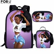 FORUDESIGNS 3pcs/set School Bags Backpack African Black Girl