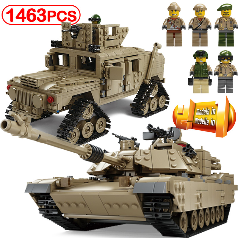 Military M1A2 Tank Building Blocks 1463pcs Compatible Legoinglys KY10000 Caterpillar Hummer 1 Change 2 Model Toys Kids Gifts 1643 pcs kazi tank building blocks blocks m1a2 abrams mbt ky10000 creative 1 change 2 tank toys compatible legoinglys gifts