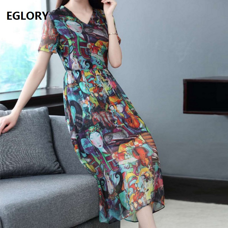 European High Street Women Casual Summer Dress 2018 Ladies V-Neck Character Print Short Sleeve Silk Dress Sun Day Dress Boho