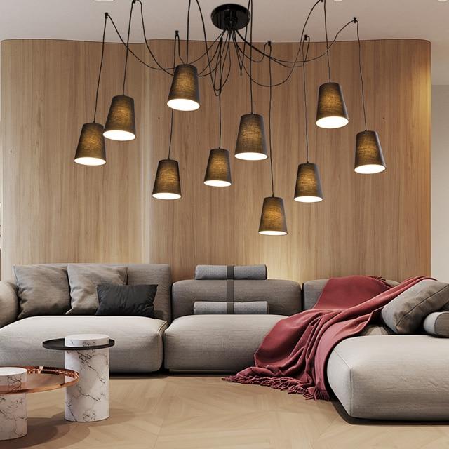 Moderne Grande Suspension Led Lustre Salle à Manger/bricolage Grappes De  Tissu Blanc/noir