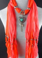 Free 2013 Jewellery Scarf Pink Women Fashion Charm Scarf Chain Overhang With Long Tassel Mix Nl