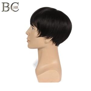 Image 3 - BCHR 8 بوصة قصيرة مستقيم بيروكات صناعية للرجال الطبيعي الأسود الذكور شعر مستعار ألياف مقاومة للحرارة الشعر المستعار شعر مستعار