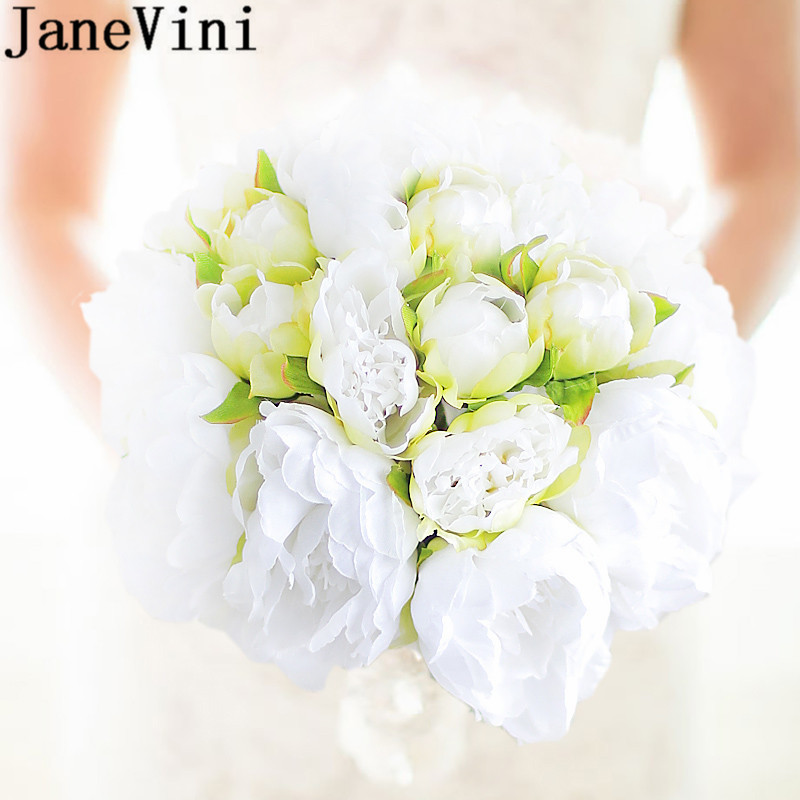 JaneVini White Peony Artificial Flower Bridal Bouquet Green Silk Green Brides Wedding Bouquet Lace Handle Holding Flowers New