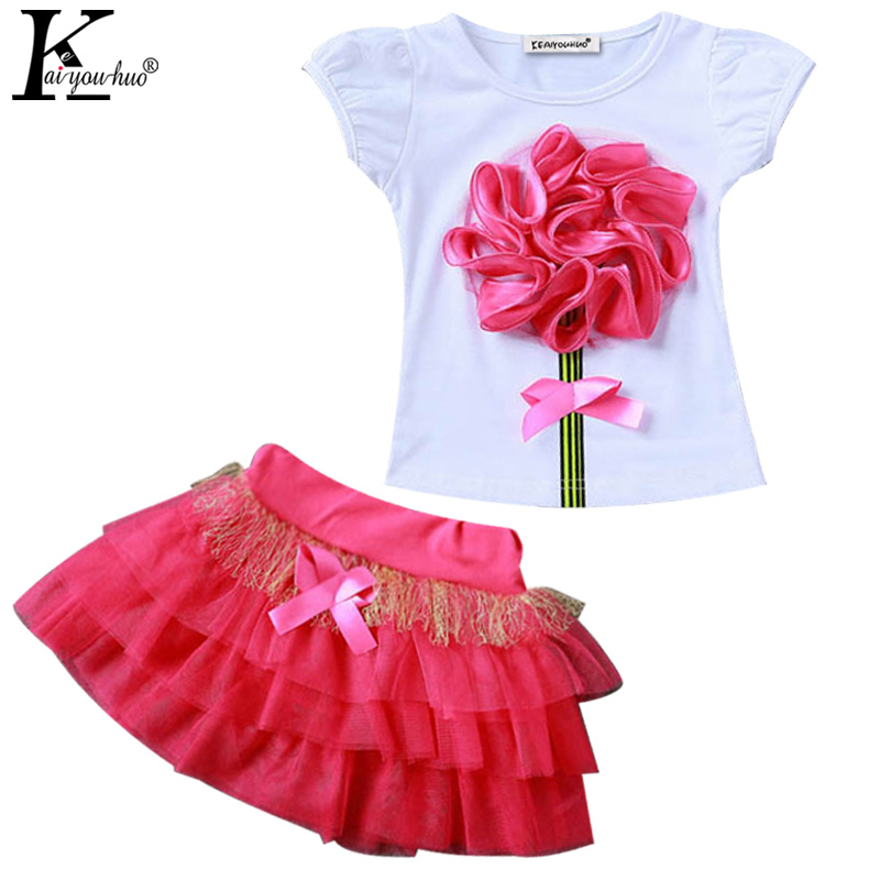 Children's suit, girls fashion bud silk joining together fly sleeve hollow gauze T-shirt+chiffon skirt suit, girls skirt suits
