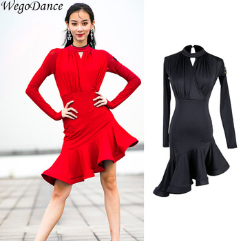 new Latin Dance dresses long sleeve latin competition dress for women