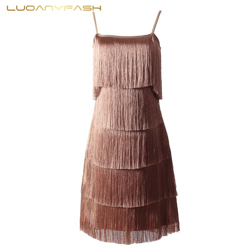 Luoanyfash Tasseled Dress Women Vestidos Sexy Summer Beach Dress Fashion Braces Suspenders Spaghetti Straps Low Cut 2018 Mini