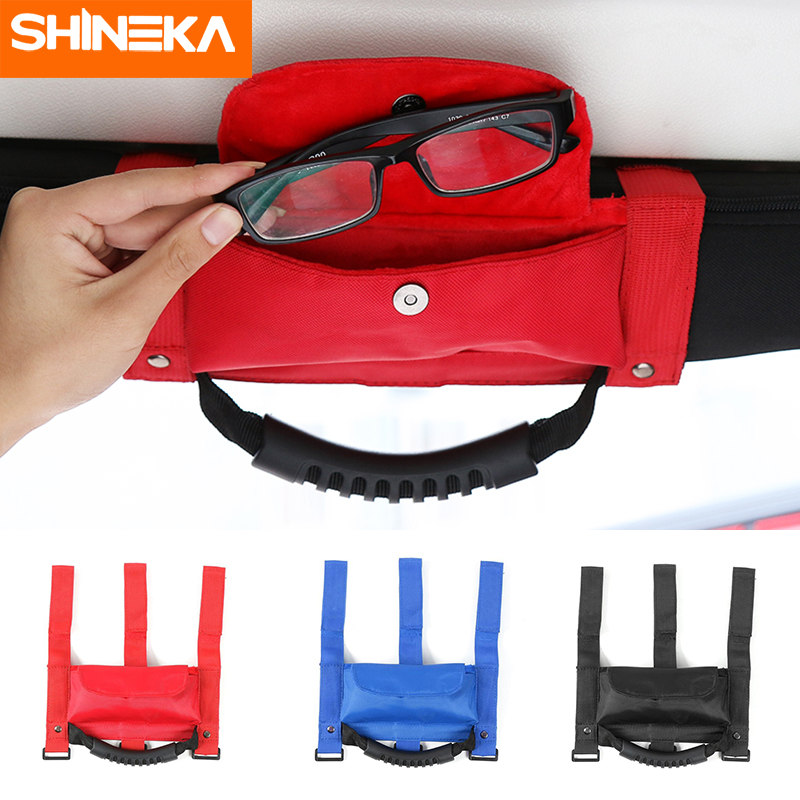 SHINEKA Car Roll Bar Grab Handle with Sunglasses Holder Storage Bag Armrest Pouch Bag Accessories for Jeep Wrangler CJ TJ JK JL