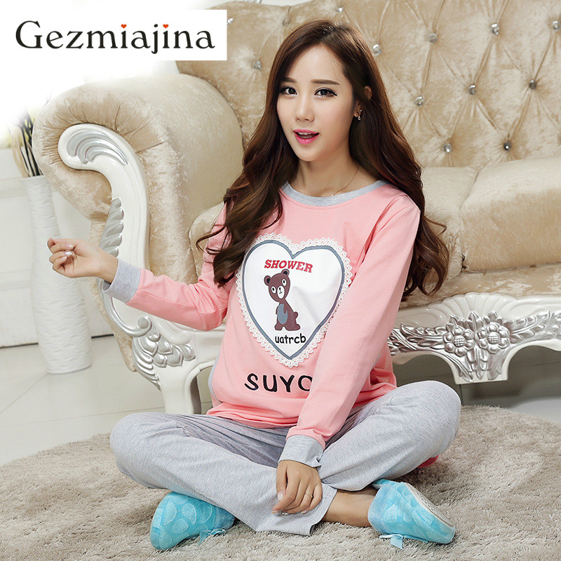 Cotton maternity breastfeeding clothes cartoon Long Sleeve Round-Neckline With Opening Design Nursing Pajamas Suit Set for Woman