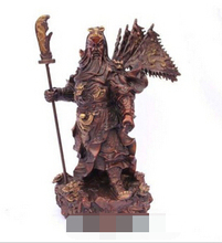 free shipping xd 002397 Large Chinese bronze red copper Dragon Guan Gong Flag Statue Figure 11″H