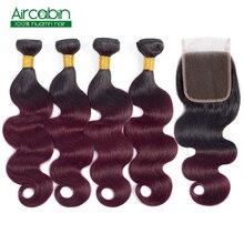 Body Wave Bundles with Closure 1B 99J Brazilian Hair Weave Bundles Human Hair Extensions 3 or 4 Bundles With Closure Non Remy