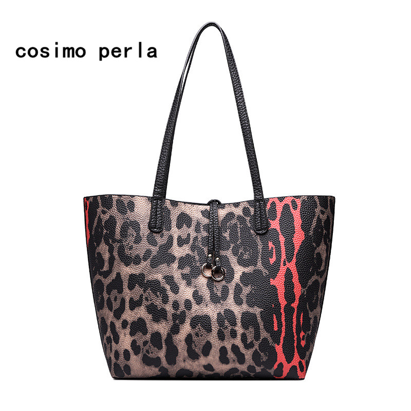 Fashion Leopard Bag Print Tote Shoulder Bags for Women 2018 Luxury Designer Big Leather Causal Shopping Bag Set Handbags Female