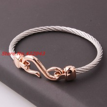 High Quality 4mm 316L Stainless Steel Twisted Cable Wire Silver & Rose Gold Cuff Chain Mens Womens Bracelets & Bangles Jewelry