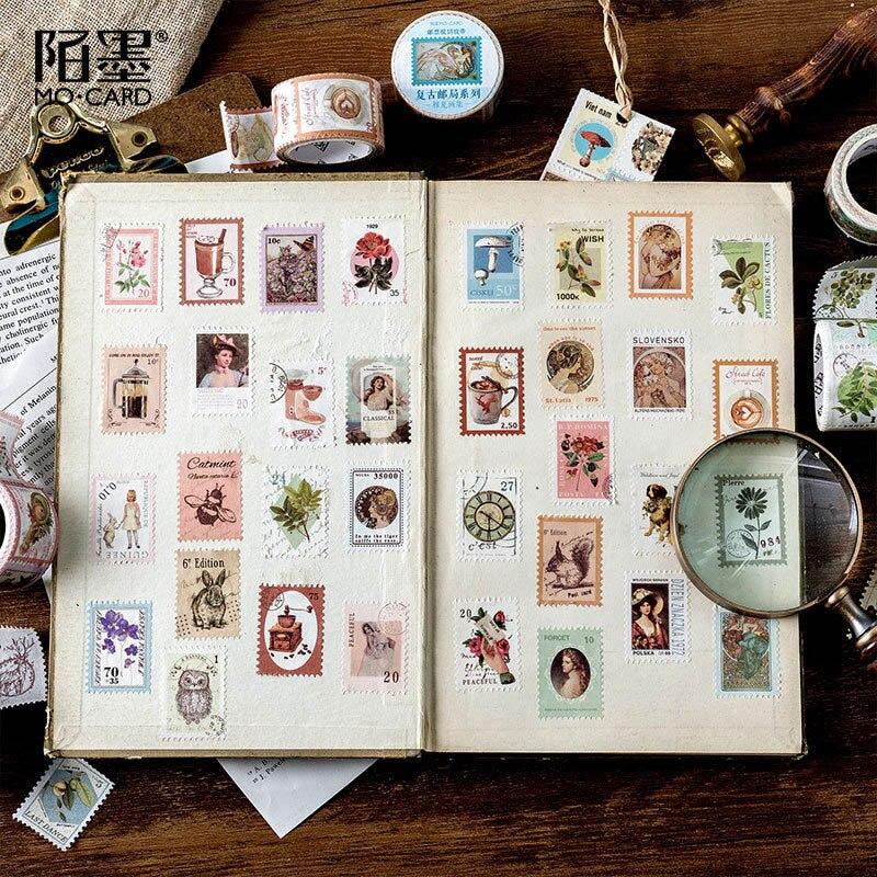 Vintage Stamp Washi Tape Pig Masking Tapes Kawaii Sticky Adhesive Tape For Kids Scrapbooking DIY Photos Albums Supplies