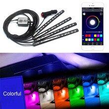 12 V RGB светодиодный Bluetooth телефон Управление автомобиля полоса для отделки интерьера света Гибкая Авто Атмосфера лампы комплект ног Android iOS APP