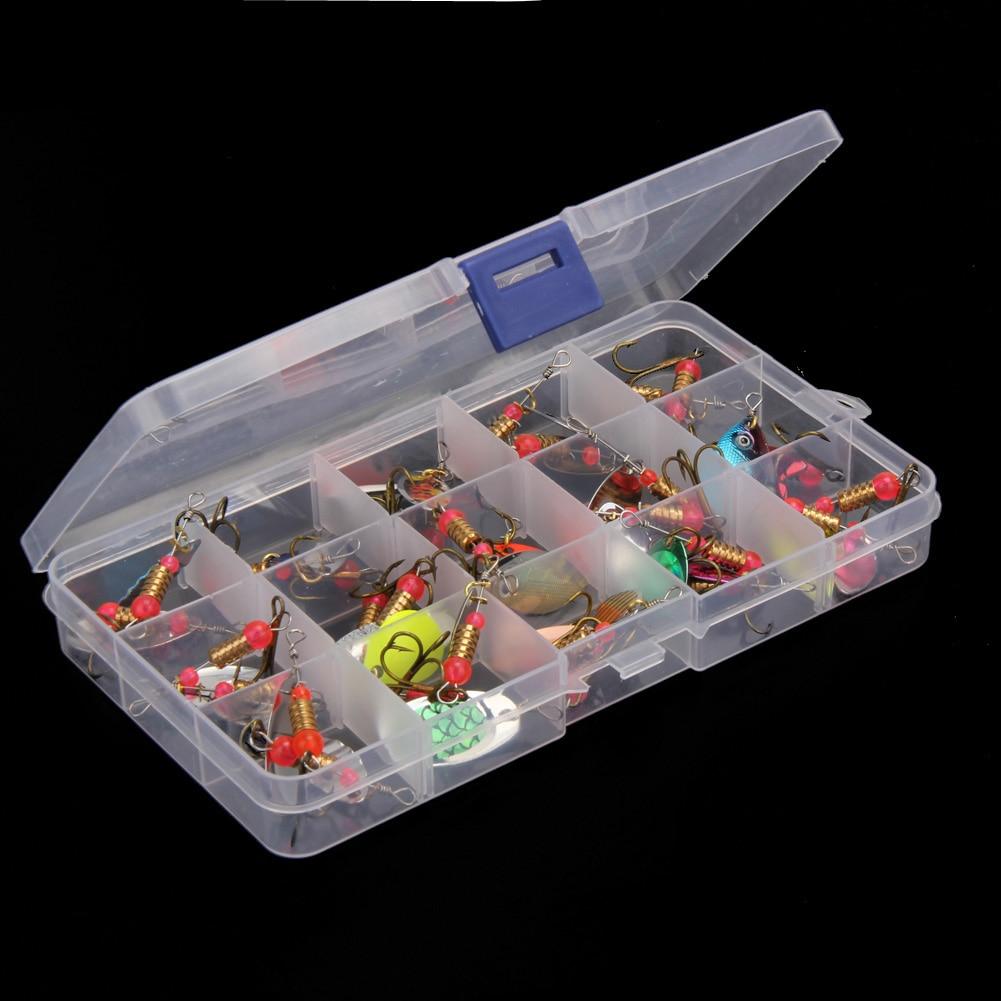 30 pz/set Artificiali Cucchiaio Trota Esche Da Pesca Spinner Baits Bass Box Arnesi Set Assortiti Foglio di Pesca Alla Carpa Esche Lure peche