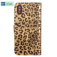 Etician Flip Case For IPhone X Sexy Leopard Pattern Leather Holder Wallet Cover For IPhone X