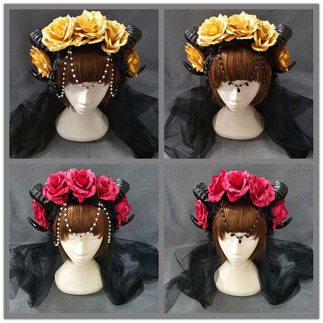 New Halloween Lolita Cosplay The Veil Demon Evil Gothic Sheep horn Flowers Headband Hairband Accessory Headwear Prop