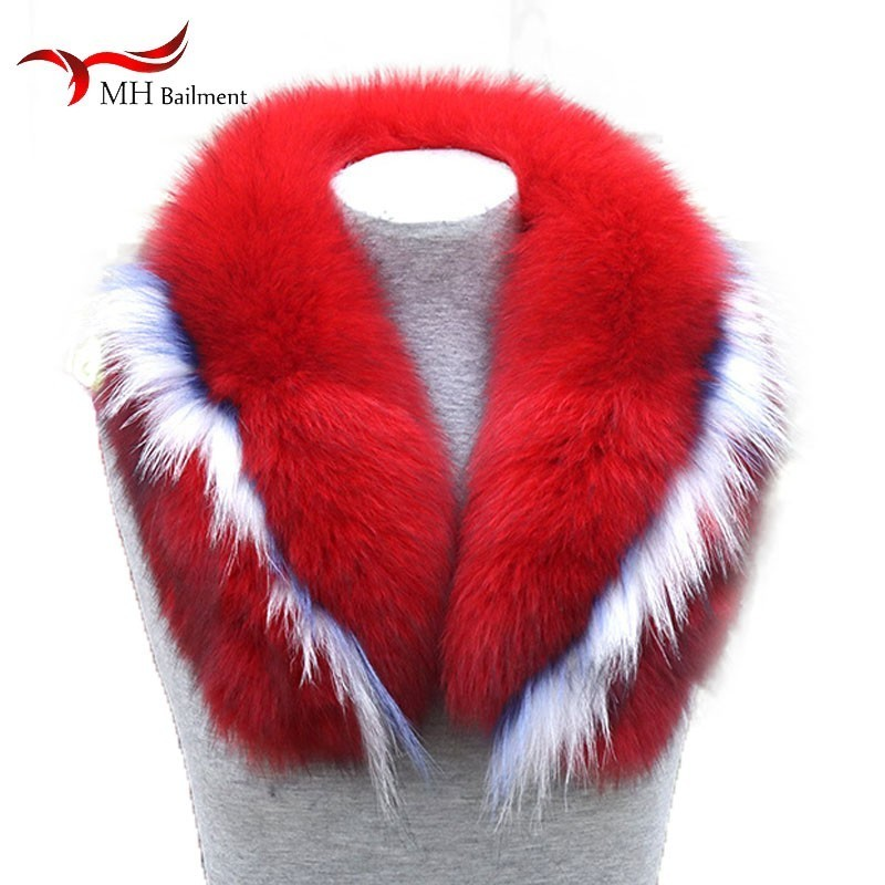 Raccoon Fur Collar Fashion Comfortable Real Fox Fur Color Matching Collar Men Women Warm Scarf Large Size Collar Can Customized