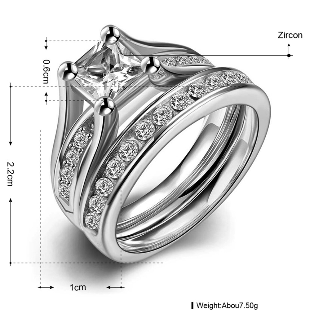 bridal rings set lajerrio ring jewelry sterling women princess s white sapphire cut wedding princes silver