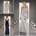 Prata cinza vestidos Bridemaid longo pescoço cetim Spaghetti azul vestidos dama de honra frete grátis