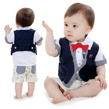 Anlencool Free shipping European and American children's summer short-sleeved vest suit baby clothing sets baby summer clothing