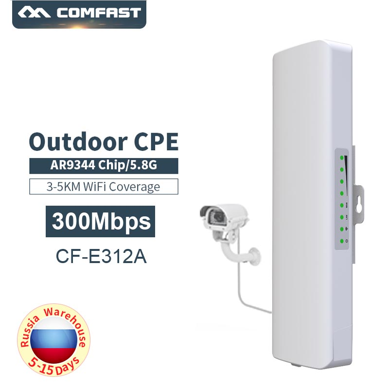 Outdoor 300Mbps 5Ghz Wireless Wifi Long range CPE Wi fi Repeater Router 2*14dbi Antenna Access point bridge AP Comfast CF E312A-in Modem-Router Combos from Computer & Office