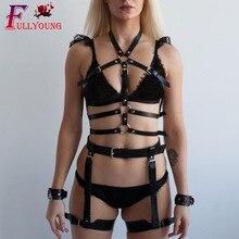 Fullyoung 2pcs Leather Harness Set BDSM Lingerie Garters Bondage Cage Belt Punk Garter Suspenders Straps